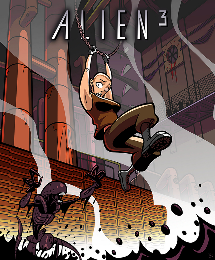 Alien 3 Cartoon Poster