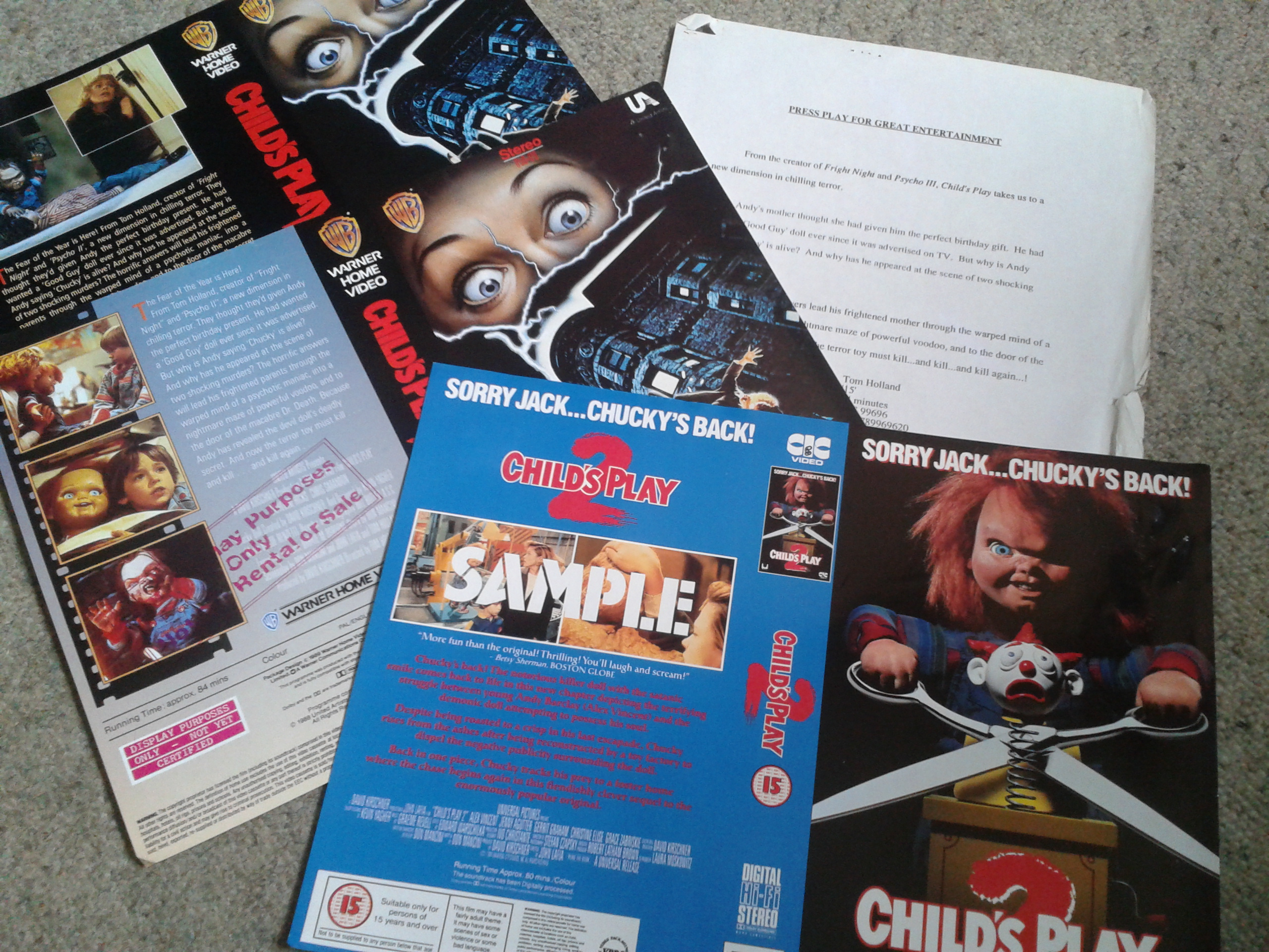 Child's Play - VHS Promo Sleeves
