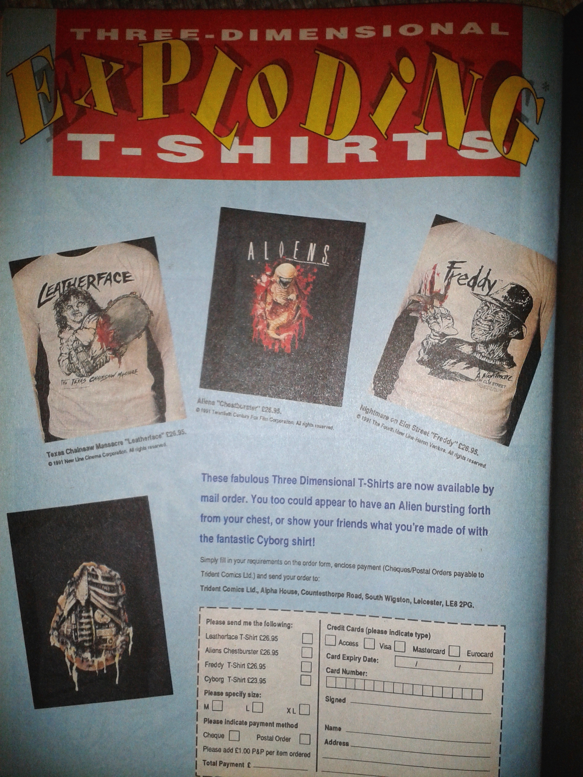 3D Exploding Horror Shirts Advert - 1990s