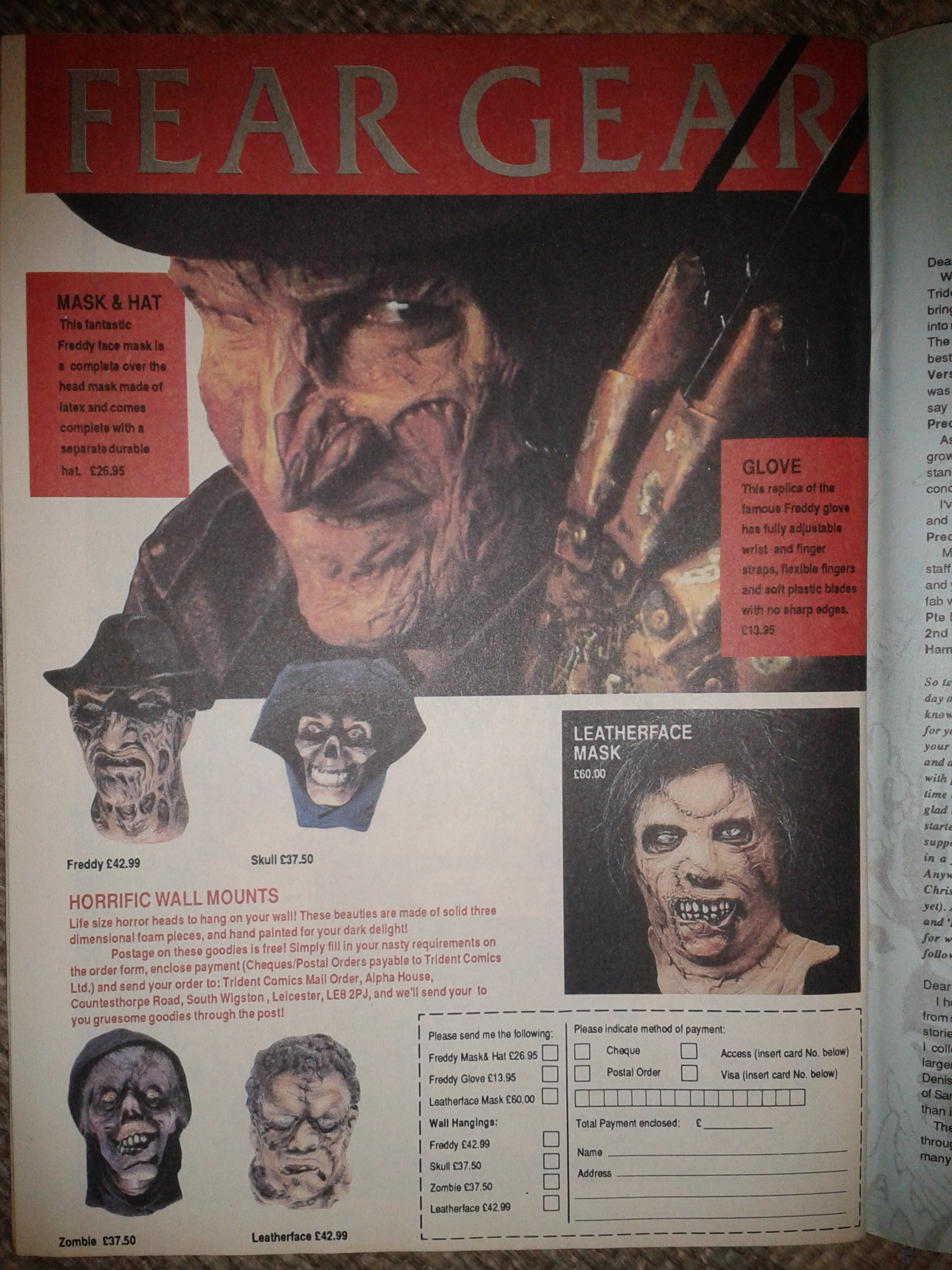 Fear Gear Advert Featuring Freddy And Leatherface - 1990s