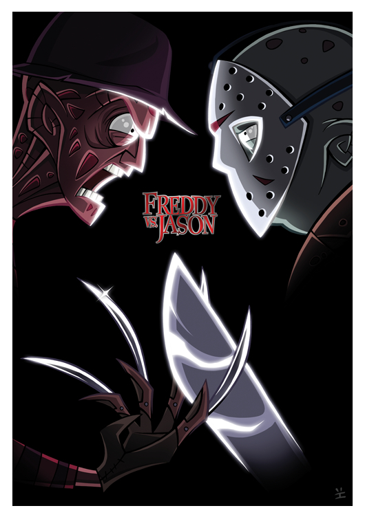 Freddy Vs Jason Cartoon Poster