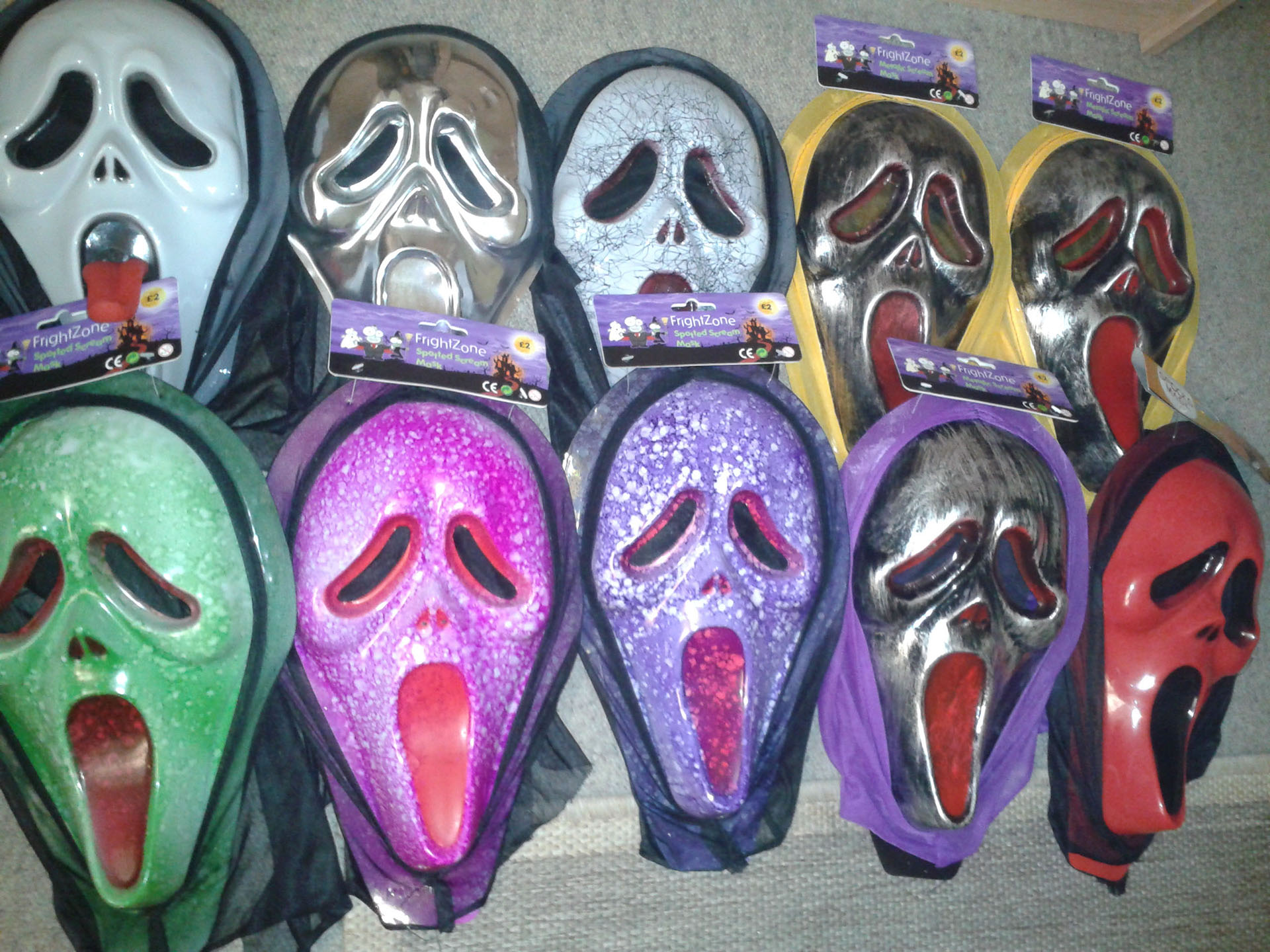 My Cheap Plastic Ghostface Scream Mask Rainbow.