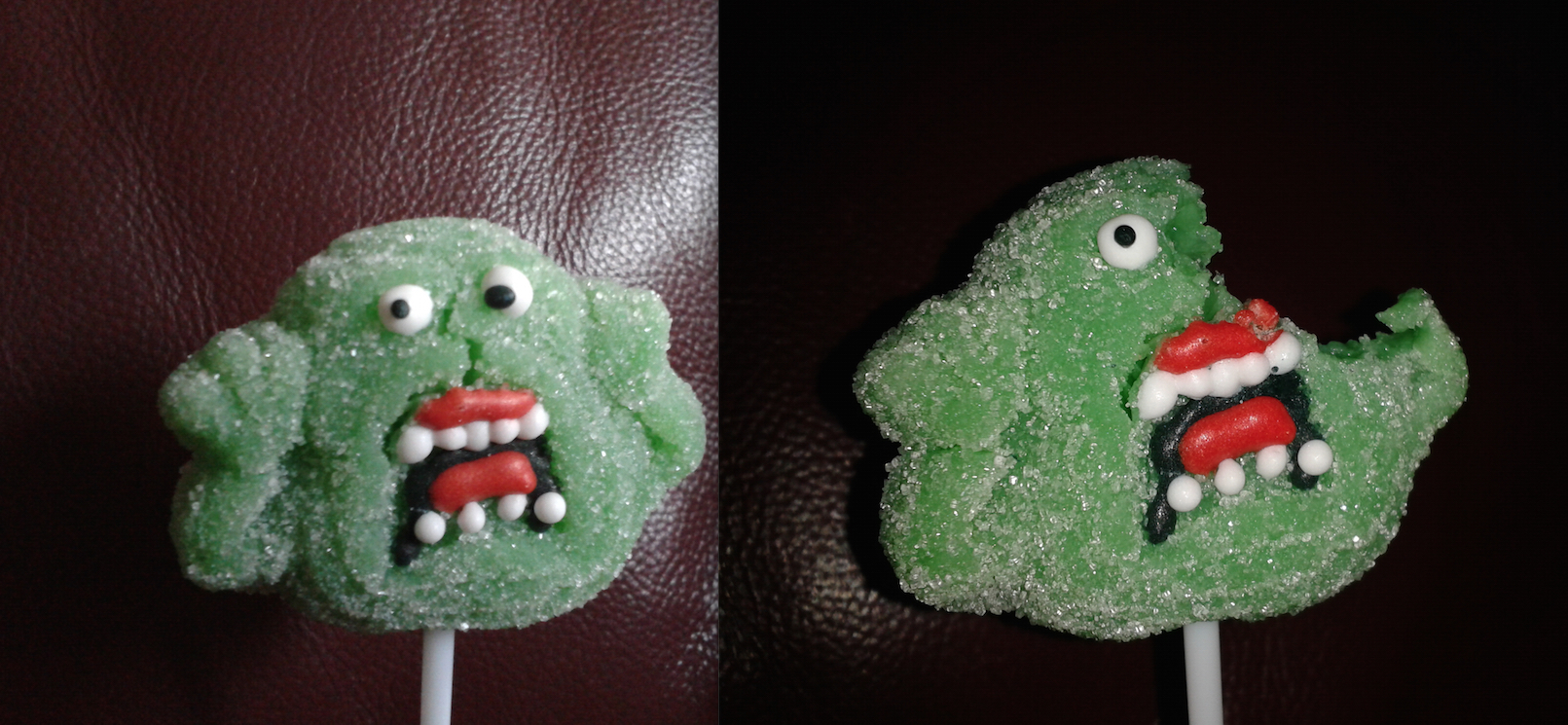 Ghostbusters Jelly Pop Slimer - Before And After A Bite!