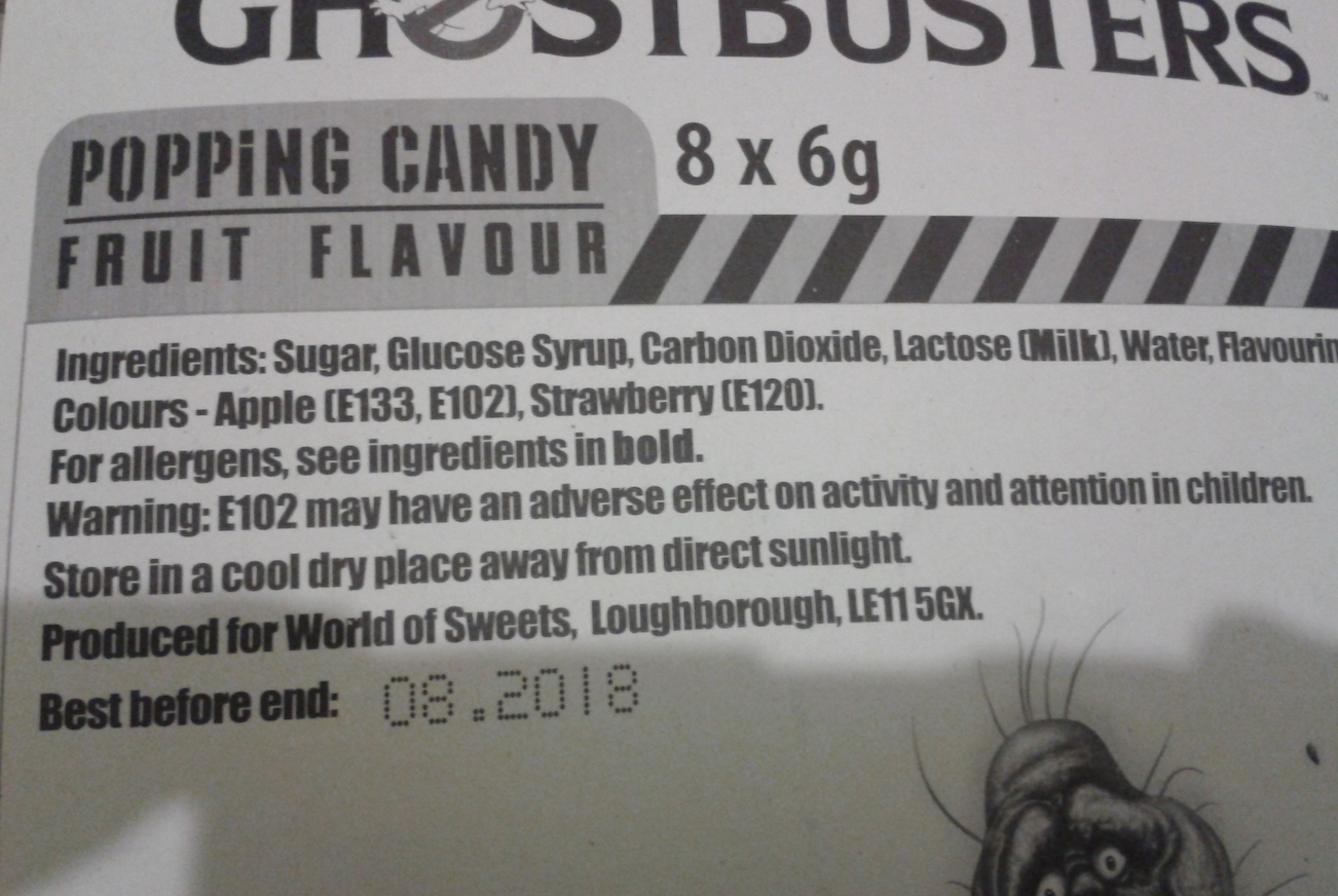 Ghostbusters Popping Candy Warning
