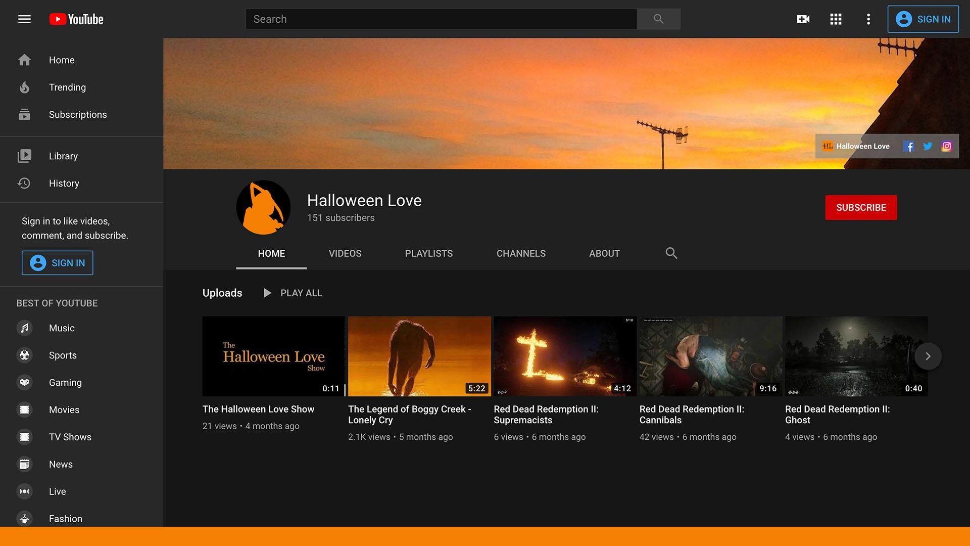 Halloween Love YouTube Channel