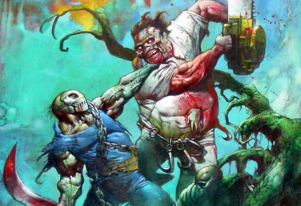 Jason V Leatherface Issue 1 Biz Painted Cover art
