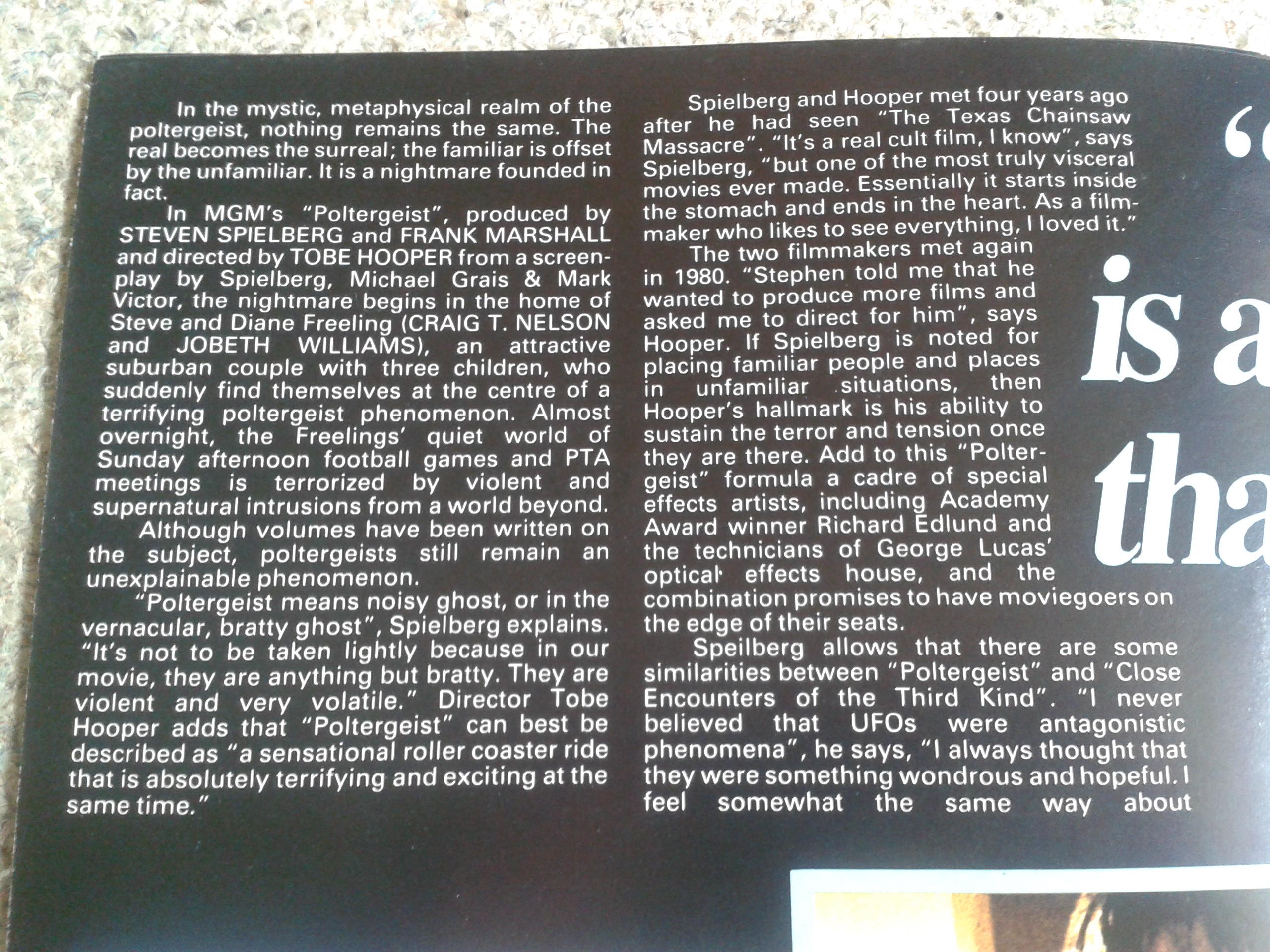 Poltergeist Poster Magazine Inside Detail 1