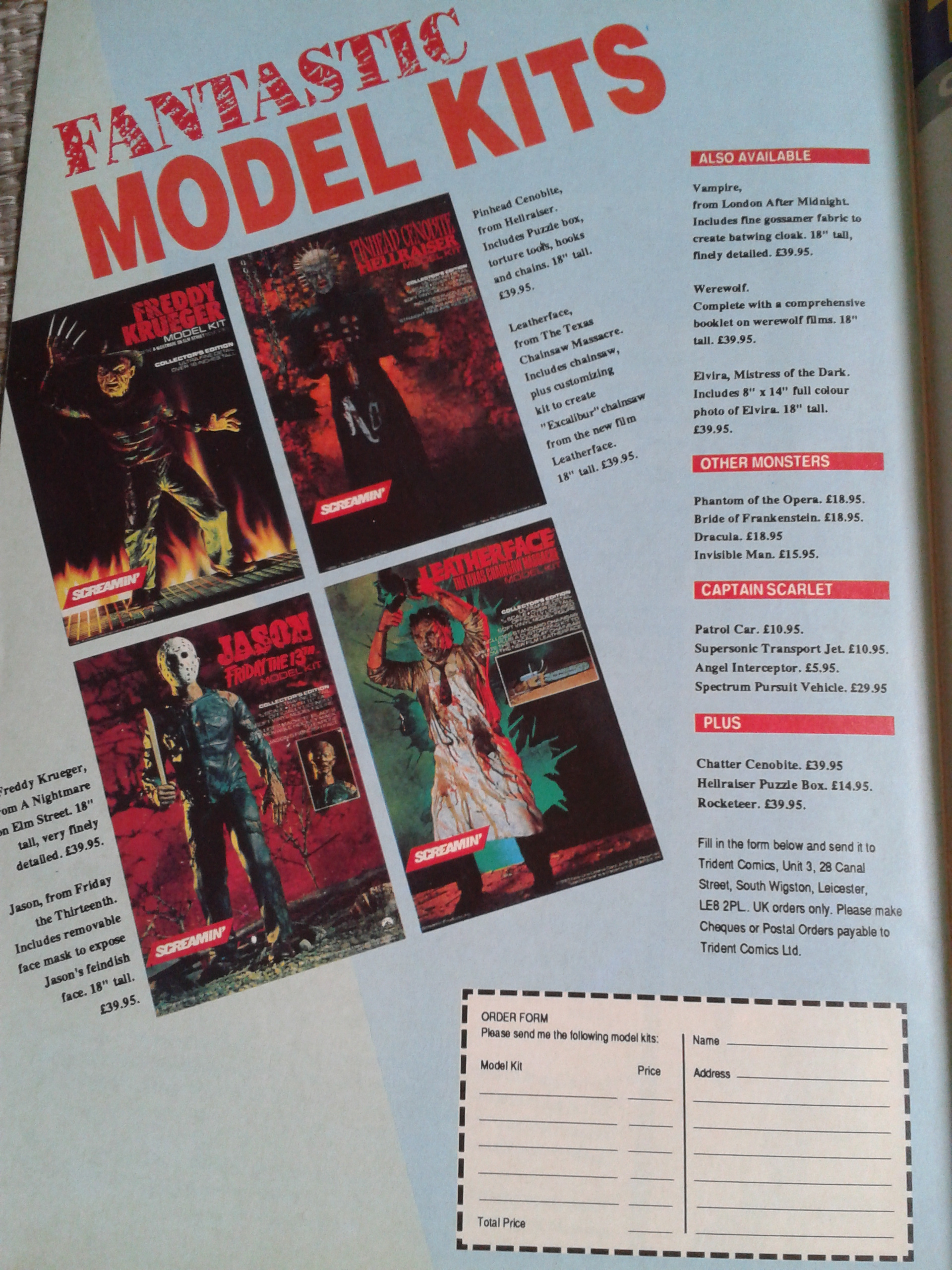 Screamin' Horror Model Kits UK Advert