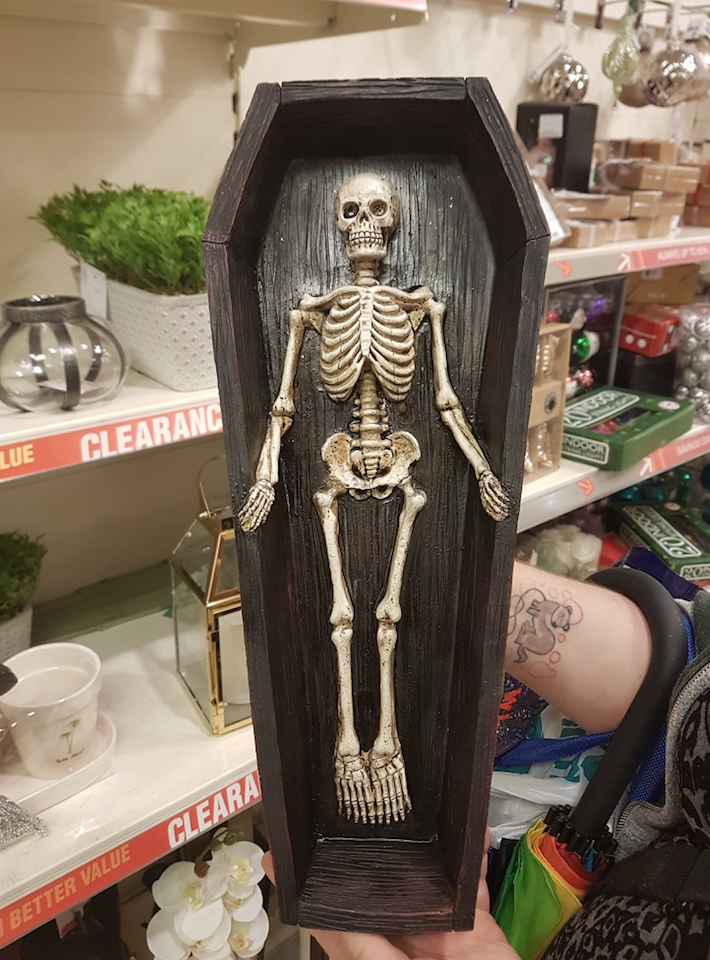 TK Maxx Store Review 2017 - Skeleton in Coffin