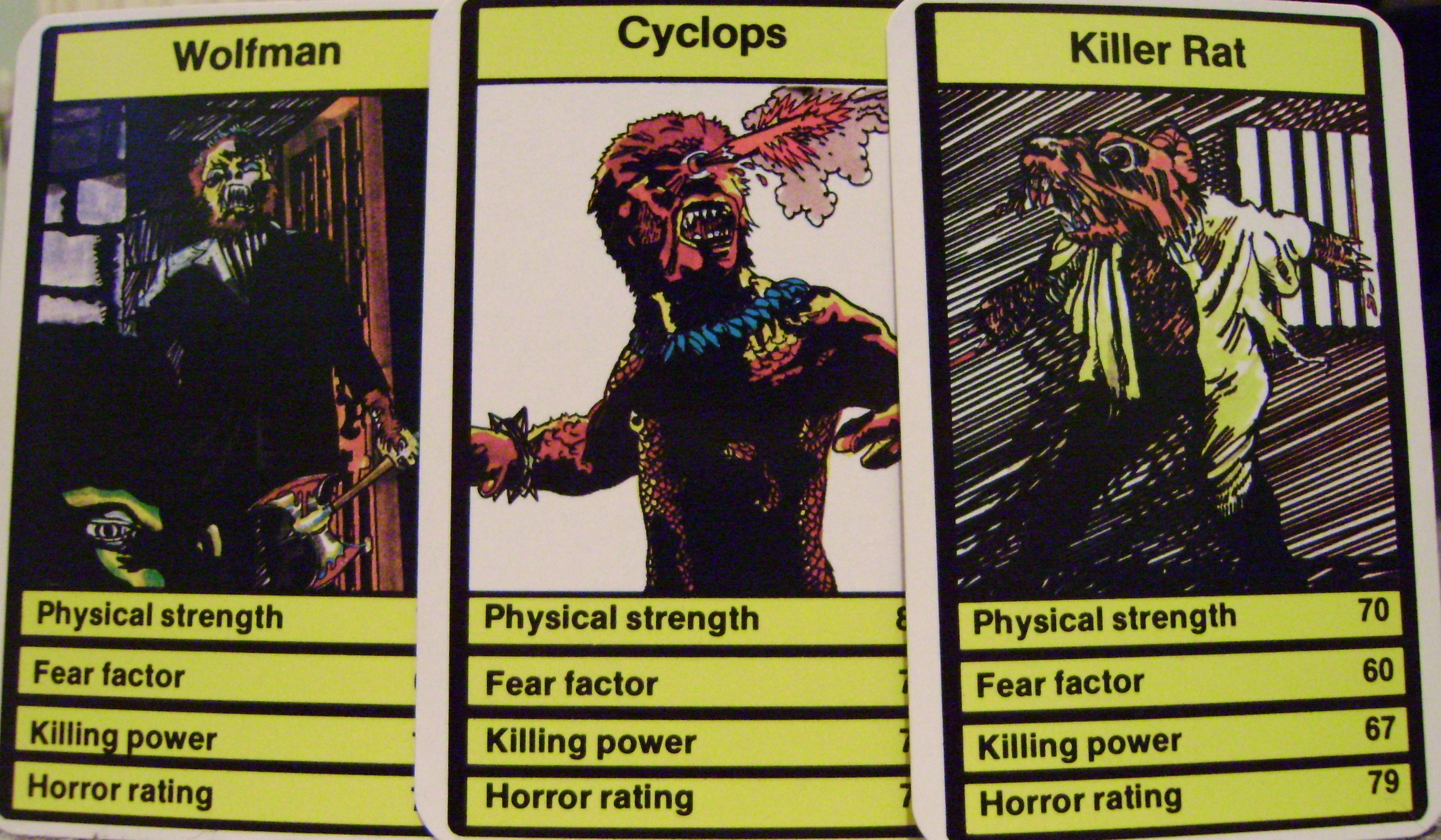 Top Trumps Horror Cards