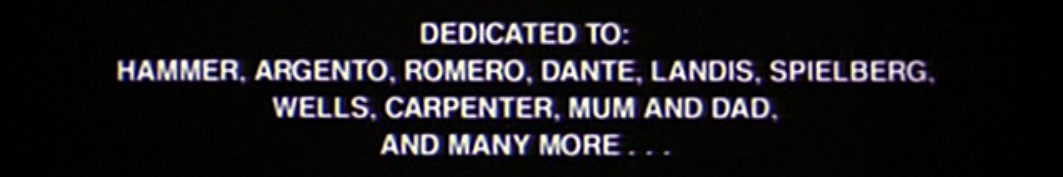 Waxwork Credits Dedication