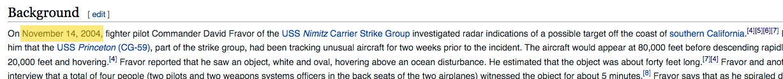 Wikipedia November 14th UFO